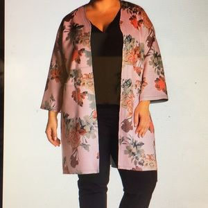 T Tahari Floral open front Leather Ladies Cardigan